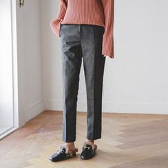 JUSTONE - Wool Blend Herringbone Tapered Dress Pants