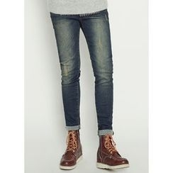 JOGUNSHOP - Drawstring Washed Slim-Fit Jeans