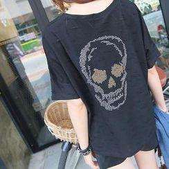 REDOPIN - Distressed Rhinestone T-Shirt