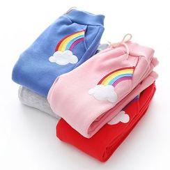 貝殼童裝 - 小童彩虹貼布繡加絨抓毛運動褲