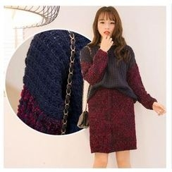 SUYISODA - Set: Mélange Panel Sweater + Pencil Skirt