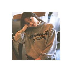 CHERRYKOKO - Lace-Neck Tasseled Lettering Sweatshirt
