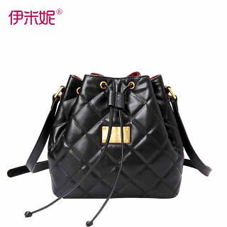 Emini House - Genuine Leather Quilted Bucket Bag