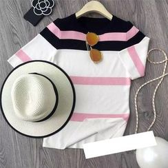AIGIL - Short-Sleeve Striped Knit Top