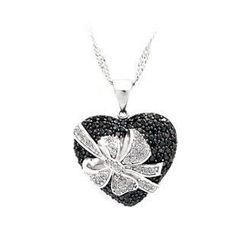 BELEC - 925 Sterling Silver Heart-shaped Pendant with Black and White Cubic Zircon and Necklace