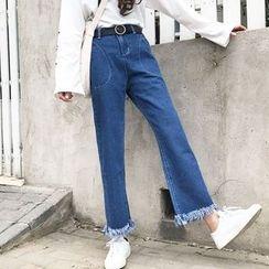 MePanda - Frayed Wide Leg Jeans