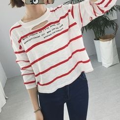 MePanda - Ripped Striped Long-Sleeve T-Shirt