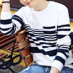HANDA - Striped Pocketed Pullover