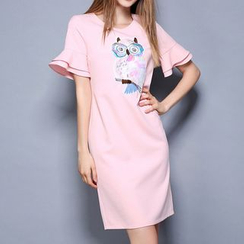 Merald - Sequined Owl Print Ruffle Trim T-Shirt Dress