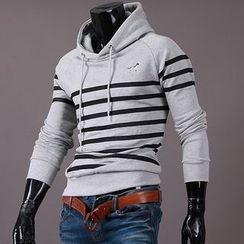 Seoul Homme - Stripe-Patterned Hoodie