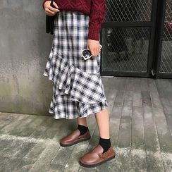 MePanda - Ruffled Plaid Midi Skirt