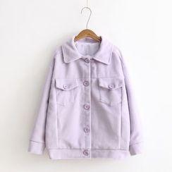 Vateddy - Button Woolen Coat