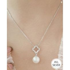 Miss21 Korea - Faux-Pearl Clover-Pendant Silver Necklace