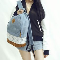 Seok - Lace Panel Denim Backpack