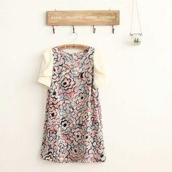 11.STREET - Floral Print Panel Chiffon Dress