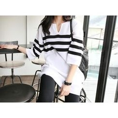 MARSHMALLOW - 3/4-Sleeve Striped Knit Tunic