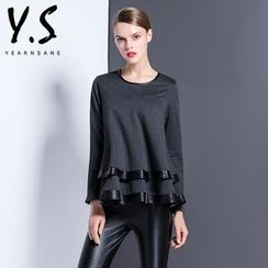 Y:Q - Faux Leather Trim Layered Long-Sleeve T-Shirt