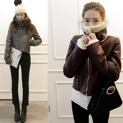NIPONJJUYA - Funnel-Neck Faux-Shearling Biker Jacket