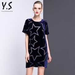 Y:Q - Star Print Velvet T-Shirt Dress