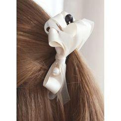 kitsch island - Bow Faux-Pearl Hair Clamp