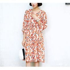 Sens Collection - Floral Print Elbow Sleeve Drawstring Waist Midi Dress