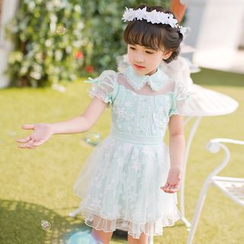 Candy Rain - Kids Faux Pearl Collar Mesh Trim Short Sleeve Dress