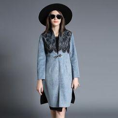 MIUCO - 蕾丝拼接长袖大衣裙