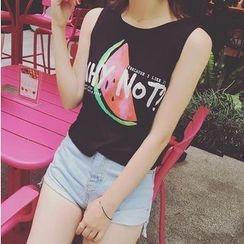 HazyDazy - Watermelon Print Sleeveless T-Shirt