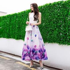 Fumiko - Floral Print Maxi Chiffon Skirt