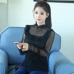 MIUCO - 套裝: 網紗拼接長袖蕾絲上衣 + 背心