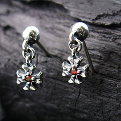 Sterlingworth - Sterling Silver Garnet Cross Single Earring
