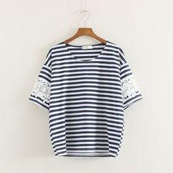 Mushi - Lace Panel Striped T-Shirt