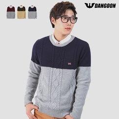 DANGOON - Color-Block Cable-Knit Top