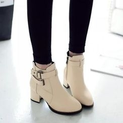 Pastel Pairs - Buckled Heeled Short Boots
