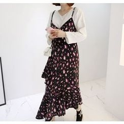 Miamasvin - Spaghetti-Strap Patterned Long Dress