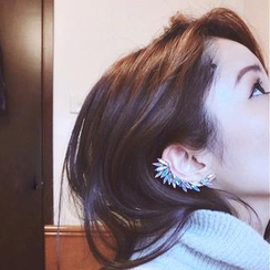 Ticoo - Set: Crystal Clip-On Feather Ear Cuff + Stud Earring