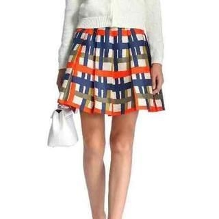 Flower Idea - Printed Pleated A-Line Skirt