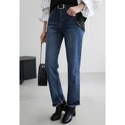 Miamasvin - Fringed-Hem Straight-Cut Jeans