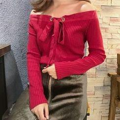 Cloud Nine - Off Shoulder Knit Pullover