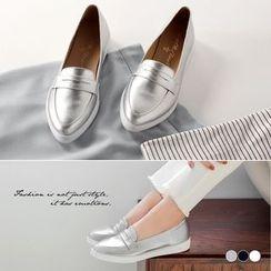 OrangeBear - 仿皮革尖头绅士风格休闲平底鞋