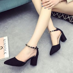 Sofree - Ankle Strap Chunky Heel Pumps