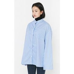 Someday, if - Mandarin-Collar Pocket-Front Oversized Stripe Shirt