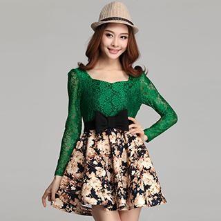Muzi - Lace-Panel Bow-Accent Floral Dress