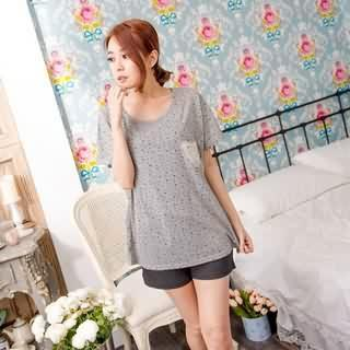 RingBear - Star-Print Lace-Pocket T-Shirt