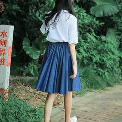 sansweet - A-Line Denim Skirt