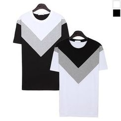 Seoul Homme - Short-Sleeve Color-Block T-Shirt