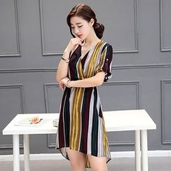 lilygirl - Striped Elbow Sleeve A-line Dress