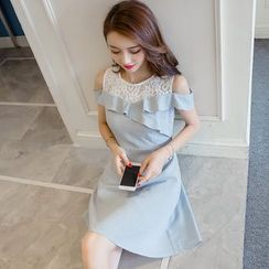 Cherry Dress - Short-Sleeve Lace Panel A-line Dress