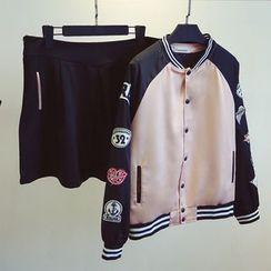 KASA - Set: Badged Baseball Jacket + A-Line Skirt
