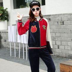 AiSun - Colour Block Fleece-lined Baseball Jacket